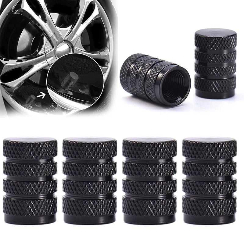 4Pcs Silver Aluminium Metal Alloy Tire Rim Valve Air Port Dust Cover Stems Caps