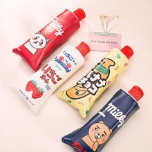 Novelty Toothpaste PU Leather Pencil Case With Pencil Sharpener Stationery Storage Bag Escalar Papelaria Escolar School Supplies(China)