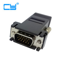 VGA Male RGB 15pin Male Extender To Lan Cat5 Cat5e RJ45 Ethernet Female Connector Adapter Black