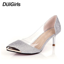 Hot sale! 2017 New Autumn Women Shoes High Heels Metal Head Pointed Sexy Women Pumps party Wedding shoes For Women size 34-40