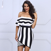 Buy Women Bandage Dress Rayon Mini Black White Stripe Strapless Sexy Dress Girls Party Club Evening Bar Sexy Dresses Vestido for $56.45 in AliExpress store