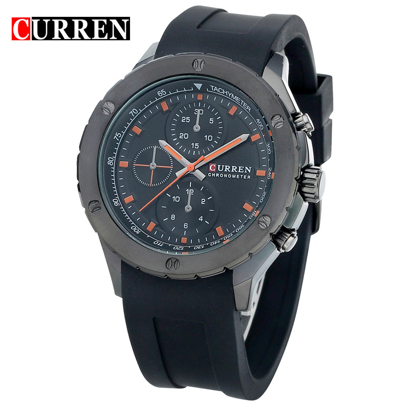 Curren Men Sports Watches Classic Simple Quartz Watch Mens Wristwatches Top Brand Luxury Silicone Band relogio Masculino 8165<br><br>Aliexpress