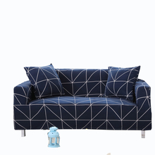 Dark blue geometric stripes universal sofa cover elastic,stretch furniture covers,multi-size couch corner plaid sofa slipcovers(China)