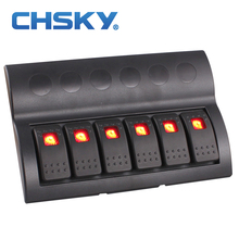 CHSKY 6 Gang 12v 24v Red Led Car Marine Boat Rocker Switch Panel Circuit Breakers Overload Protected Car Switch Panel
