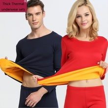 Men Thermal Underwear 2017 New Winter Women Long Johns thick fleece underwear sets keep warm in cold weather(China)