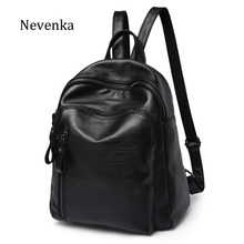 NEVENKA Women Brand Backpack Female Solid fashion Black Backpacks Lady Rotro Simple Style Pocket Back Pack Girl School Bag Bags(China)