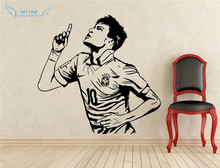 Home Decor Posters Sports wall stickers PVC Vinyl Removable Art Mural Football Star Neymar Goals boys room wall stickers(China)