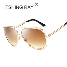 TSHING RAY Pilot Sunglasses New Fashion Women Italy Hollow Brand Designer Aviation Sun Glasses Mirror UV400 For Female(China)
