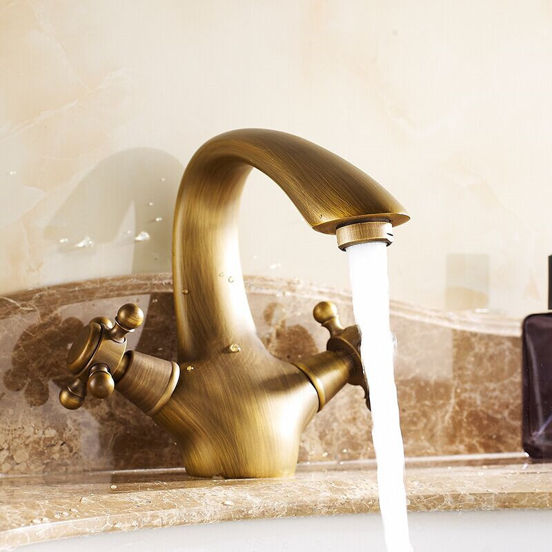 Free Shipping whloesale and retail Brass antique Faucet Dual Holder Basin Sink Mixer Tap Faucets Mixers Taps torneiras banheiro<br><br>Aliexpress