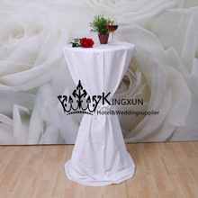 100% Polyester Cocktail Table Cover \ Cheap Wedding Table Cloth - White Color(China)