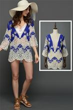 European Foreign Trade New Pattern Nation Wind Hollow Out Lace Embroidery Hook Flower Easy Sandy Beach Sunscreen Smock Dress