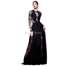 Zuhair Murad 2017 Long Sleeves Lace Evening Dresses Long Avondjurk Celebrity Dresses A Line Abendkleider Robe De Soiree Formal