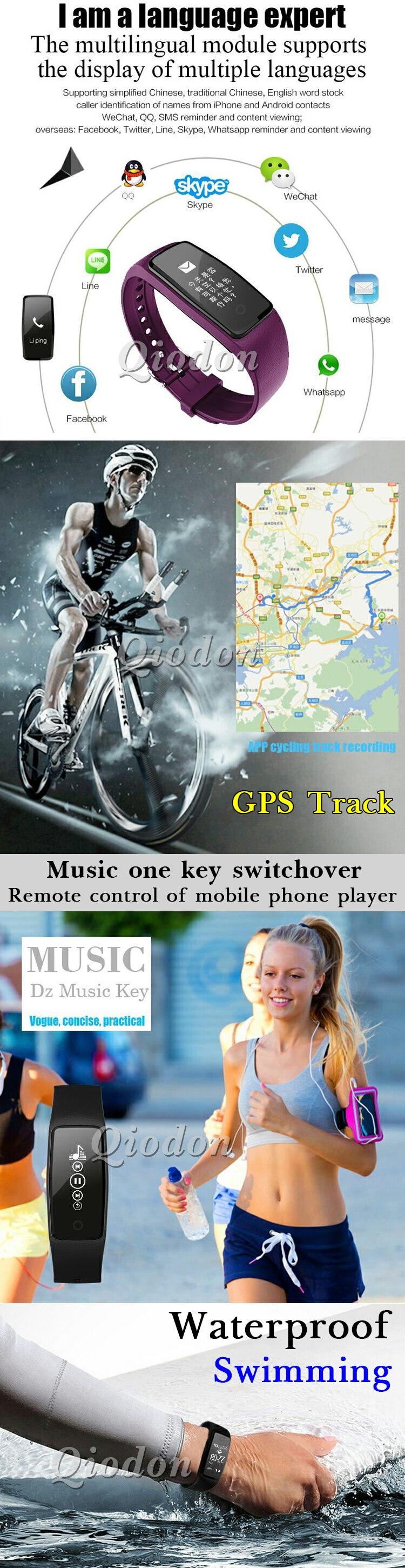Waterproof Music Control Smart Wristband Band Heart Rate Monitor Pedometer Smartband Fitness Bracelet Tracker PK fitbits mi band 2