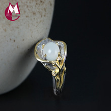 Large Size 7-12 Natural Moonstone 925 Sterling Silver Rings For Women Mother's Gift Luxury Big Ring Lily Flowers Jewelry YR69(China)