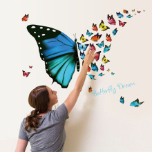2018 New 3D DIY Buttefflies Large Wall Sticker Home Decor Living Room Art Decals Name Butterfly Dream Adesivo De Parde Poster(China)