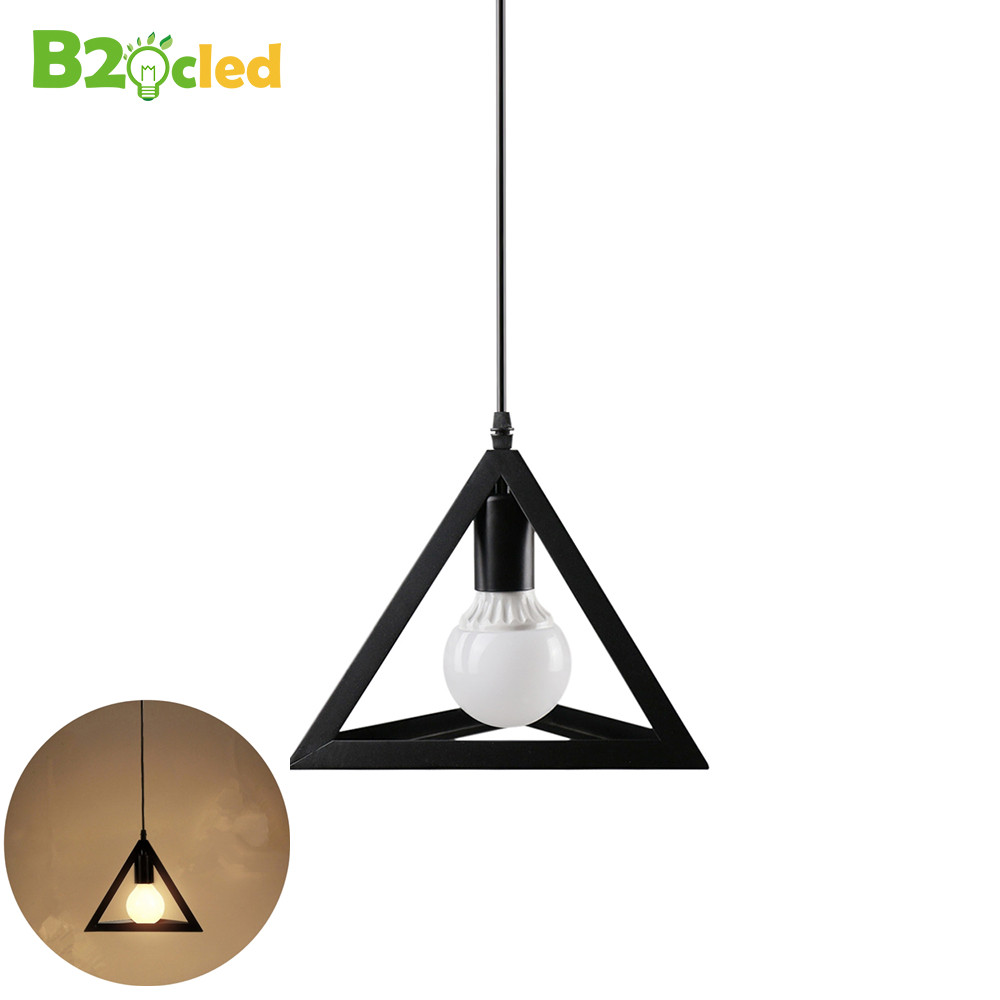 European minimalist style triangle chandelier LED light single or three E27 bulb fashion furniture retro iron art pendant lamp<br>
