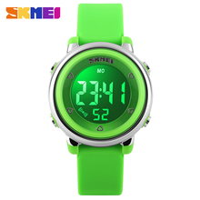 2017 New SKMEI popular Brand children kids fashion Sports Watches Digital LED Wristwatches green blue white black rubber strap(China)