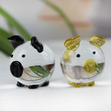 K9 Crystal Pig Figurines Miniatures Glass Animal Miniature House Decoration Fengshui Crafts Cute Ornaments(China)