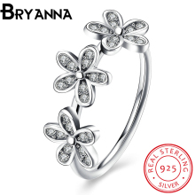 Bryanna Authentic 100% 925 Sterling Silver Dazzling Daisy Stackable Finger Ring Clear CZ Flower Jewelry love Gift PDRSVR7172-8(China)
