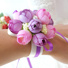 Wrist Flower Rose Silk Ribbon Purple Bride Corsage Hand Decorative Wristband Bracelet Bridesmaid Curtain Band Clip Bouquet