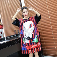 Autumn New Style Cartoon Swan Printed Dress Novelty O-Neck Vertical Stripes T-Shirt Dress Oversize Gold Velvet Loose Dresses