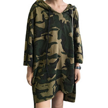 2017 Summer Women Dress Hooded Camouflage Loose Dresses Casual Three Quarter Sleeve T-Shirt Dress Military Vestidos robe femme