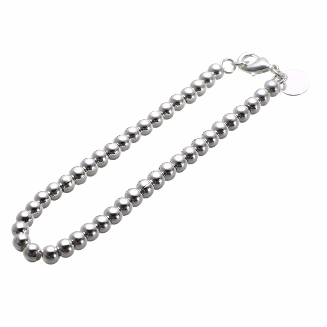 Fashion Elegant Silver Plated Bracelet Shellhard Small Round Beads Bangle Bracelet For Women Men Charm Hand Chain Jewelry Gift