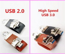 High Speed USB 3.0 Genuine 128GB 64GB 32GB 16GB 8GB Capacity Leather USB3.0 Pen drive USB flash drive memory stick Pendrive gift
