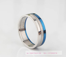 New Arrival High Quality dull polish Brand Bright silver Blue 316L Stainless Steel Three Color Finger Ring
