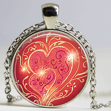 Love Light Pendant Anniversary Jewelry Valentine's Gift Heart Necklace Valentine Jewellery Art Glass Dome for Woman Girl Friends