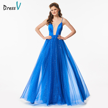 Dressv blue beading long prom dress v neck a line backless tulle formal evening party dresses spaghetti straps prom dresses(China)