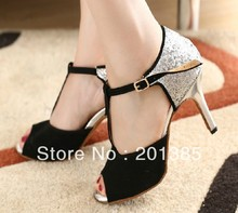 Wholesale Women Silver Glitter Black Suede T-Straps Shoes for Ballroom Dancing Salsa Shoes Size 35,36,37,38,39,40,41