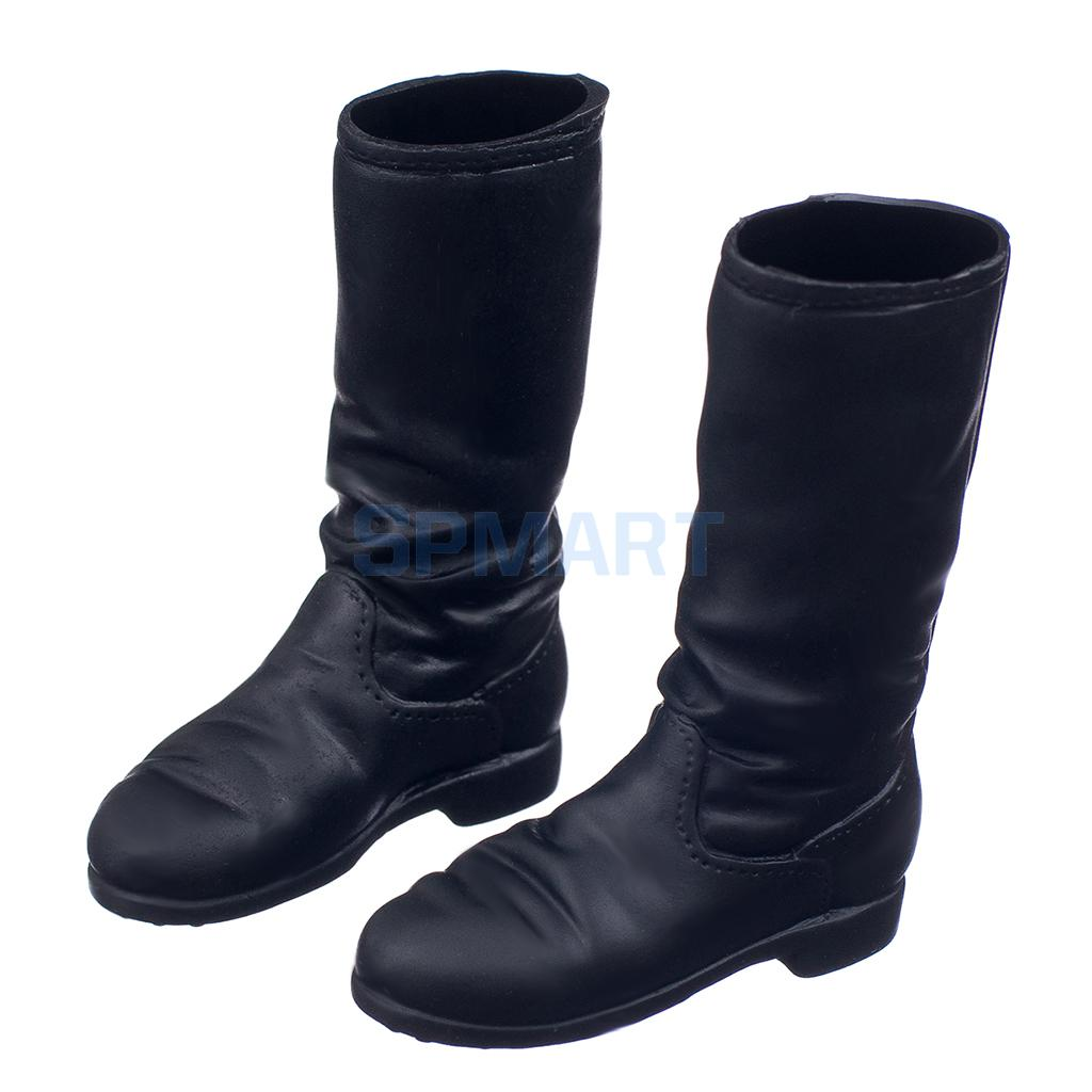 998b9a5c8a9a50 Black 1 6 Scale Flat Long Boots Shoes Accessories For 12 Inch Female ...
