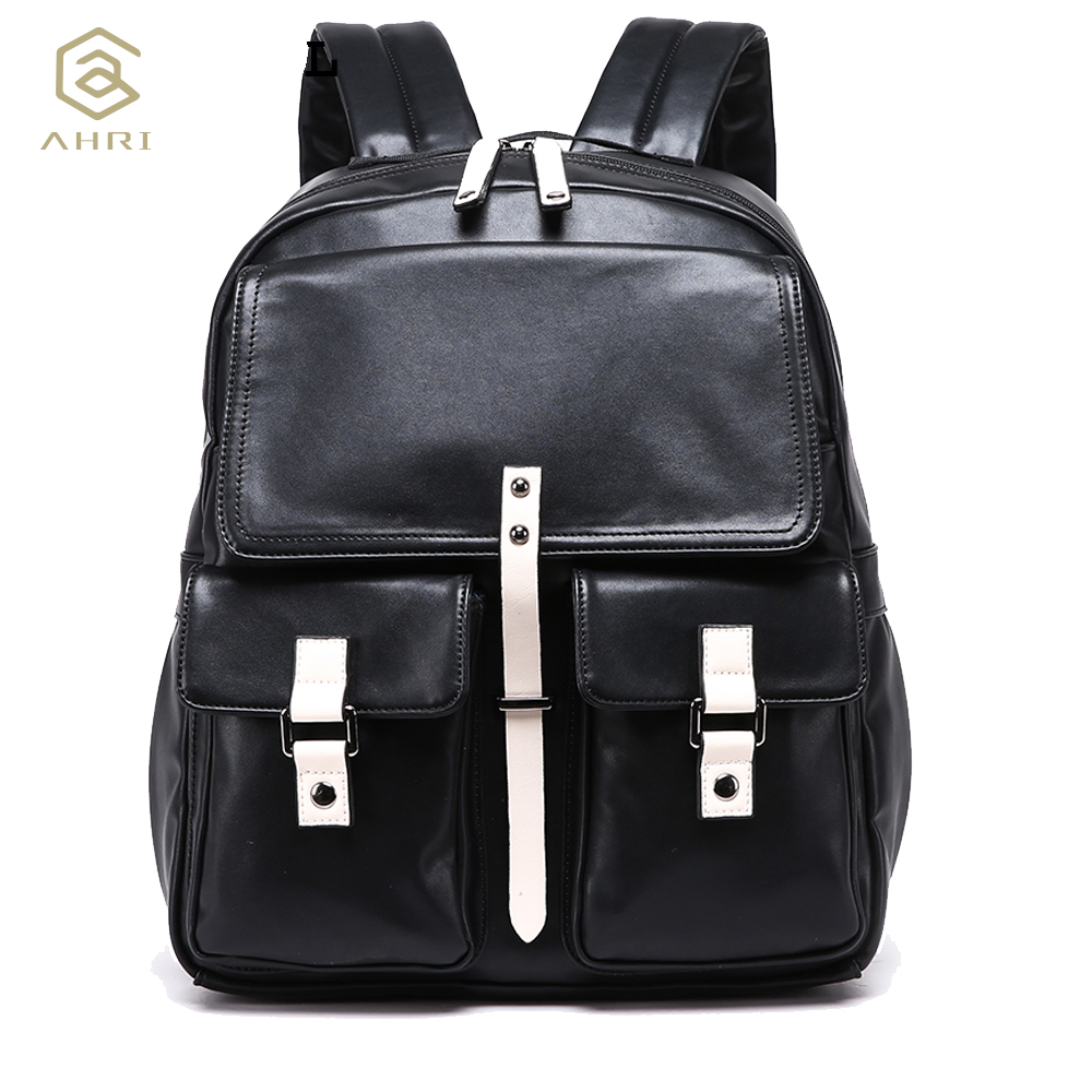 AHRI NEW 2017 Backpacks men Bags PU Leather Mens Shoulder Bags Fashion Men Business Casual School Boys Vintage Backpack for Men<br>