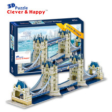 2014 new clever&happy land 3d puzzle model Tower Bridge adult puzzle diy model for boy paper learning & education(China)