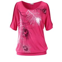 Women Clothes Slit Sleeve Cold Shoulder Feather Print Casual Summer T Shirt Girl Tee Loose Top Plus Size