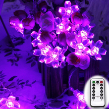 Remote Control Battery Powered 6M 60LED Cherry Blossom Christmas Led String lights 20Ft Peach Flower Garden Decoration(China)