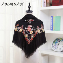 Europe america Ethnic Style Embroidered Scarves Shawls for Women Fashion Design Artistic Style Bandana Ladies Square scarf W34