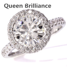 2.5 Carat F Color Moissanite White Loose Stone Moissanite Ring Real Diamond Accents 14K white gold For Engagement Wedding