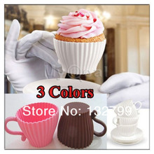 4pcs/Set Silicone Cupcake Cups Mold Cake Muffin Baking Mould Chocolate Tea Cup Case Saucers