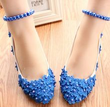 Newest!  Mid heels womens wedding shoes PR650 flower lace decoration blue white party pump custom make heel party shoes