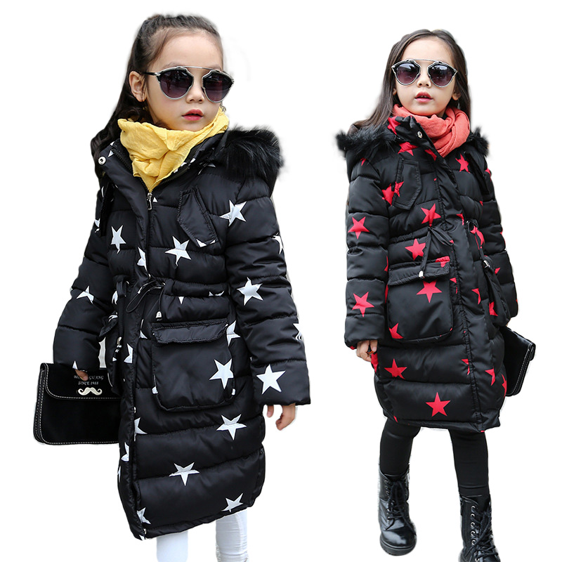 OLEKID Winter Thick Children Parka Brand Hooded Five-pointed Star Long Jacket For Girls 5-14 Years Kids Outerwear Coat<br>