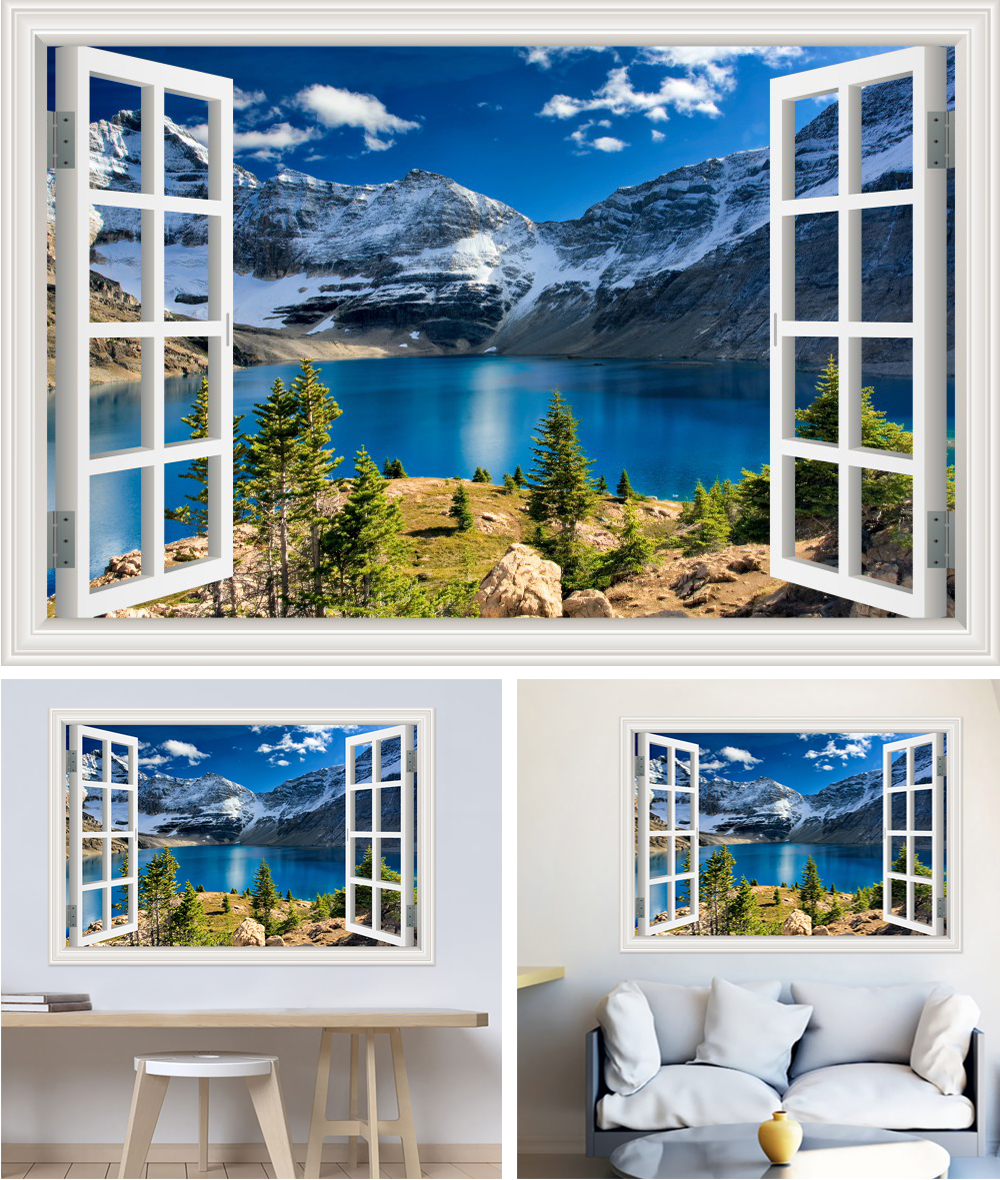 HTB1nTfhh nI8KJjSszbq6z4KFXav - Modern 3D Large Decal Landscape Wall Sticker Snow Mountain Lake Nature Window Frame View For Living Room