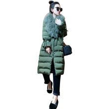 European Station 2017 Autumn Winter Women's Fashion Temperament New Style Long Big Hair Collar Heavy Cotton Clothing Jacket(China)