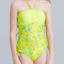 Floral One Piece Swimsuit For Girls 2017 Bandeau Children Swimwear Kids Scrunch Swim Suit Child Halter Trikini Bathing Suits