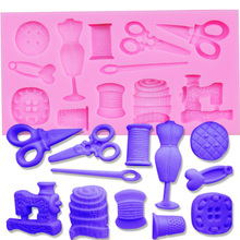 M347 Scissors button Faucet Baby Shower shaped Silicon Mold Silicone Moulds for Cake Decorations 11*6*1.1CM(China)