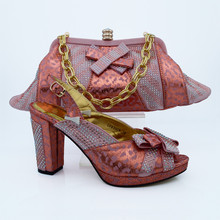 African Women Bags And Shoes For Wedding Heels Rhinestones 2016 Latest Italian Shoes With Matching Bags CP63008 Peach Color.