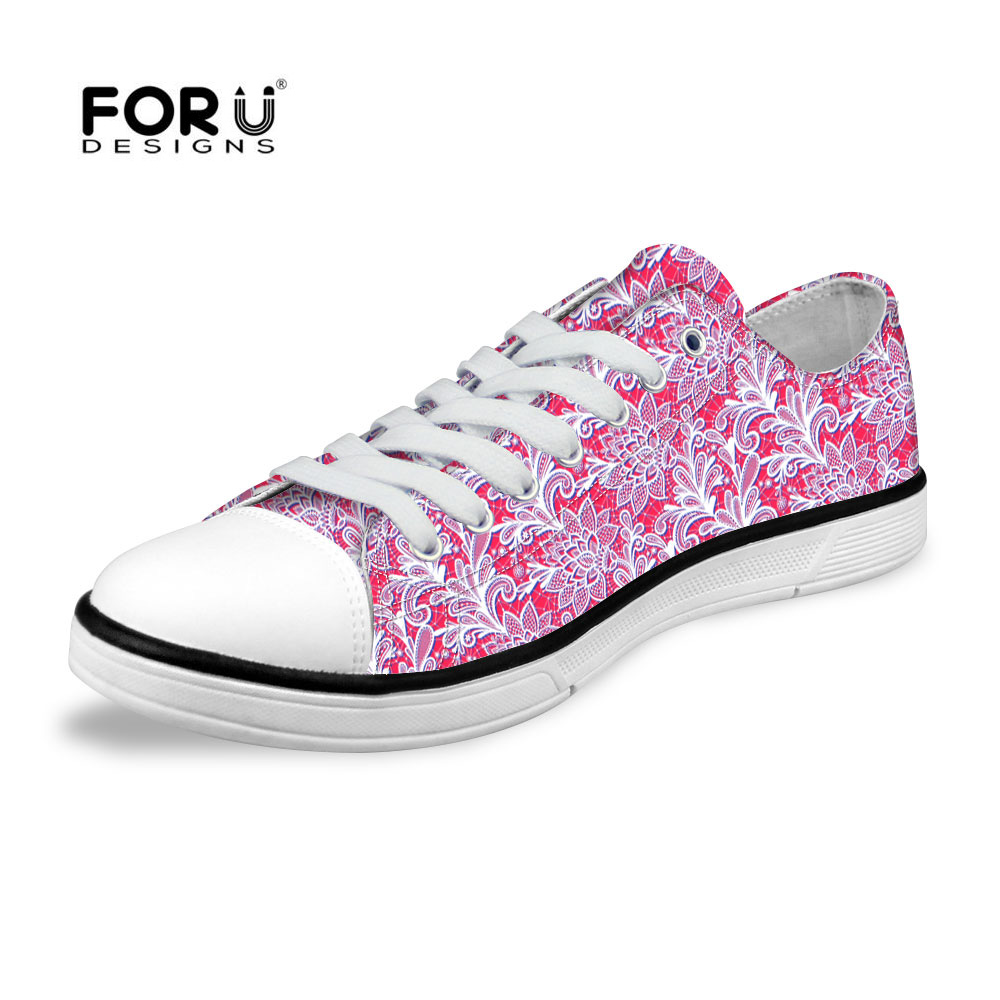 FORUDESIGNS Pink Lace Flat Casual Women Shoes,Low Top Canvas Shoes,Flower Printing Plus Flats Ladies Walking Shoes High Quality<br><br>Aliexpress