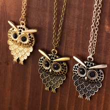 New Arrivals 3 Color Vintage Lovely Owl Pendant Necklace Long Sweater Chain Golden Antique Silver Bronze For Woman Jewelry Gift(China)