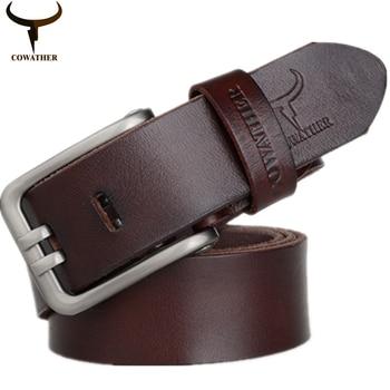 Cowather aleación hebilla 100% top cow cuero genuino para hombre cinturón para los hombres de moda nuevo diseño exquisito masculino cinturones de envío gratis